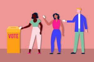 Wahltag Demokratie mit Wählern im Wahlkasten vektor