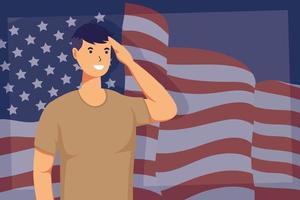 soldat med usa flaggabakgrund vektor