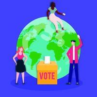 Wahltag Demokratie mit Wählern in Wahlbox und Erdplanet vektor