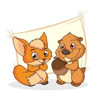 niedliche Chipmunk- und Fuchs-Comicfiguren vektor