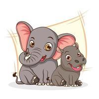 söt tecknad karaktär för elefant och flodhäst vektor