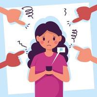 junge Frau Opfer von Cyber-Mobbing mit angreifenden Händen