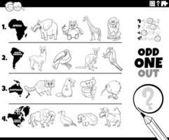 udda en ut djur bild spel målarbok sida vektor