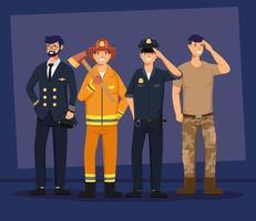 Gruppe von vier männlichen Arbeitercharakteren vektor