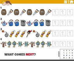 pädagogische Musteraufgabe für Kinder mit Comicobjekten vektor