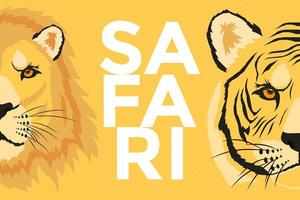 vilda tiger och lejon djur huvuden, safari banner vektor
