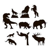 vilda djur och fauna silhuett ikonuppsättning vektor