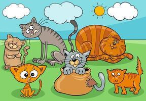Katzen- und Kätzchengruppenkarikaturillustration vektor