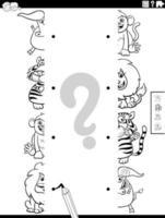 Match Hälften der Tiere Bilder Malbuch Seite vektor