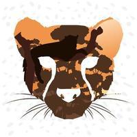 vild leopard djurhuvud, fauna landskap scen vektor