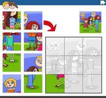 Puzzle-Aufgabe mit Kindercharaktergruppe vektor