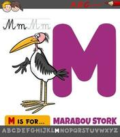 Buchstabe m Arbeitsblatt mit Cartoon Marabu Storch Vogel vektor