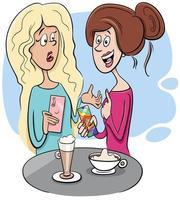 kvinnor skvaller i café tecknad illustration