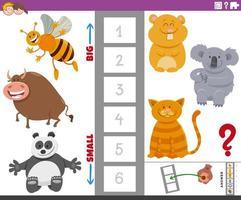 pedagogisk uppgift med stora och små djurkaraktärer vektor