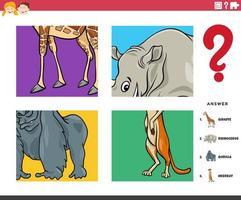 erraten Tierfiguren pädagogische Aufgabe für Kinder vektor