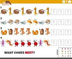 pädagogisches Musterspiel für Kinder mit Tieren und Insekten vektor
