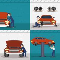 Sammlung von Szenen der Mechanik arbeiten vektor