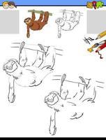 teckna och måla kalkylblad med sloth animal vektor