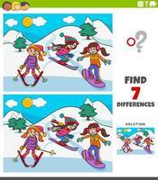 Unterschiede Lernspiel mit Skimädchen vektor