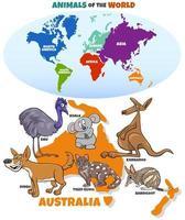 pedagogisk illustration med tecknade australiska djur och karta vektor