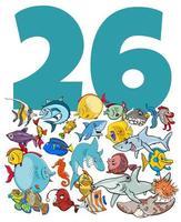 Nummer sechsundzwanzig und Cartoon Fischgruppe vektor