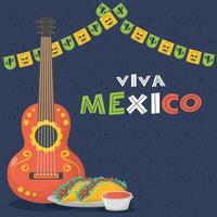 viva mexico feier mit gitarre und tacos vektor