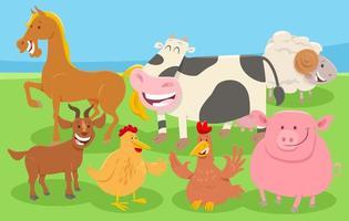 tecknade husdjur på landsbygden vektor