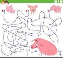 pedagogiskt labyrint spel med tecknade smågrisar och gris vektor