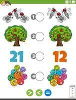 größere weniger oder gleiche Aufgabe mit für Kinder vektor