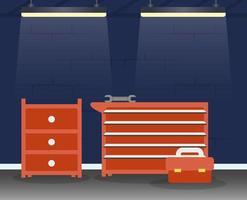 mechanische Werkstatt mit Werkzeug- und Schubladenszene