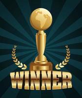guld vinnare firande banner med trofé