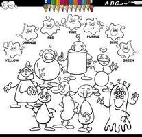 Grundfarben Farbbuch mit außerirdischen Charakteren vektor
