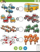 größere, kleinere oder gleiche Aufgabe mit Fahrzeugen vektor