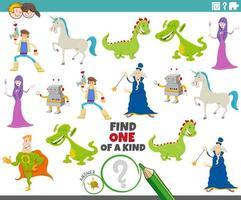 ett unikt spel för barn med fantasifigurer vektor