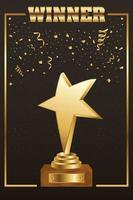 guld vinnare firande banner med trofé vektor