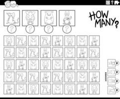 Wie viele Tierfiguren zählen die Aufgabenfarbbuchseite? vektor