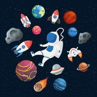 astronaut med rymdikoner vektor