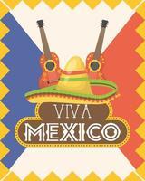 viva mexico feier mit gitarre und hut vektor