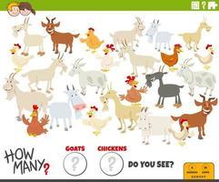 wie viele Ziegen und Hühner pädagogische Aufgabe für Kinder vektor