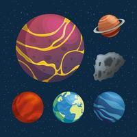 bunt av planeter och asteroidutrymmeikoner vektor