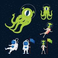 utomjordingar och astronauter rymd ikonuppsättning vektor
