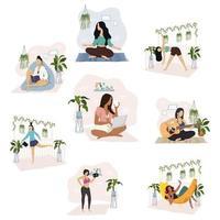 interracial grupp med fyra unga kvinnor som gör aktiviteter