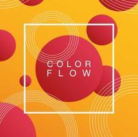 levande färgflöde med fyrkantig ram bakgrundsmall vektor