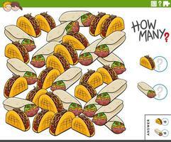 räknar burritos och tacos pedagogisk uppgift för barn vektor