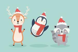 renar och pingvin med tvättbjörn bär julkläder karaktärer vektor