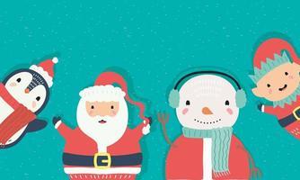 söta djur som bär julklädkaraktärer vektor