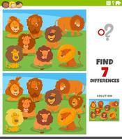 skillnader pedagogisk uppgift med tecknade lejon vektor