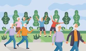 aktive Seniorenpaare, die Aktivitäten im Camp üben vektor