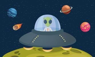 Alien-Comicfigur in UFO mit Planetenszene