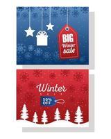 stor vinterförsäljningsaffisch med blå och röda taggar hängande